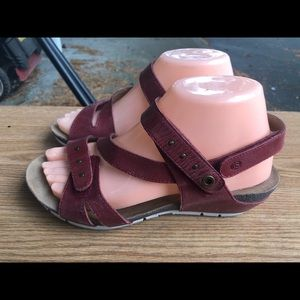 Josef Seible Maroon Ankle Strap Sandals Size 38/8